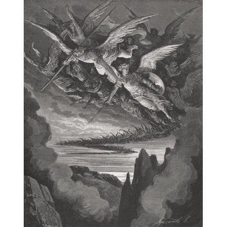 Illustration By Gustave Dore 1832-1883 French Artist And Illustrator For Paradise Lost By John Milton Book I Lines 344 And 345 Canvas Art - Ken Welsh  Design Pics (13 x
