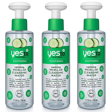 Soothing Cucumber - Yes To Cucumbers Soothing Calming Micellar Cleansing Water, 7.77 Oz (Pack of 3)