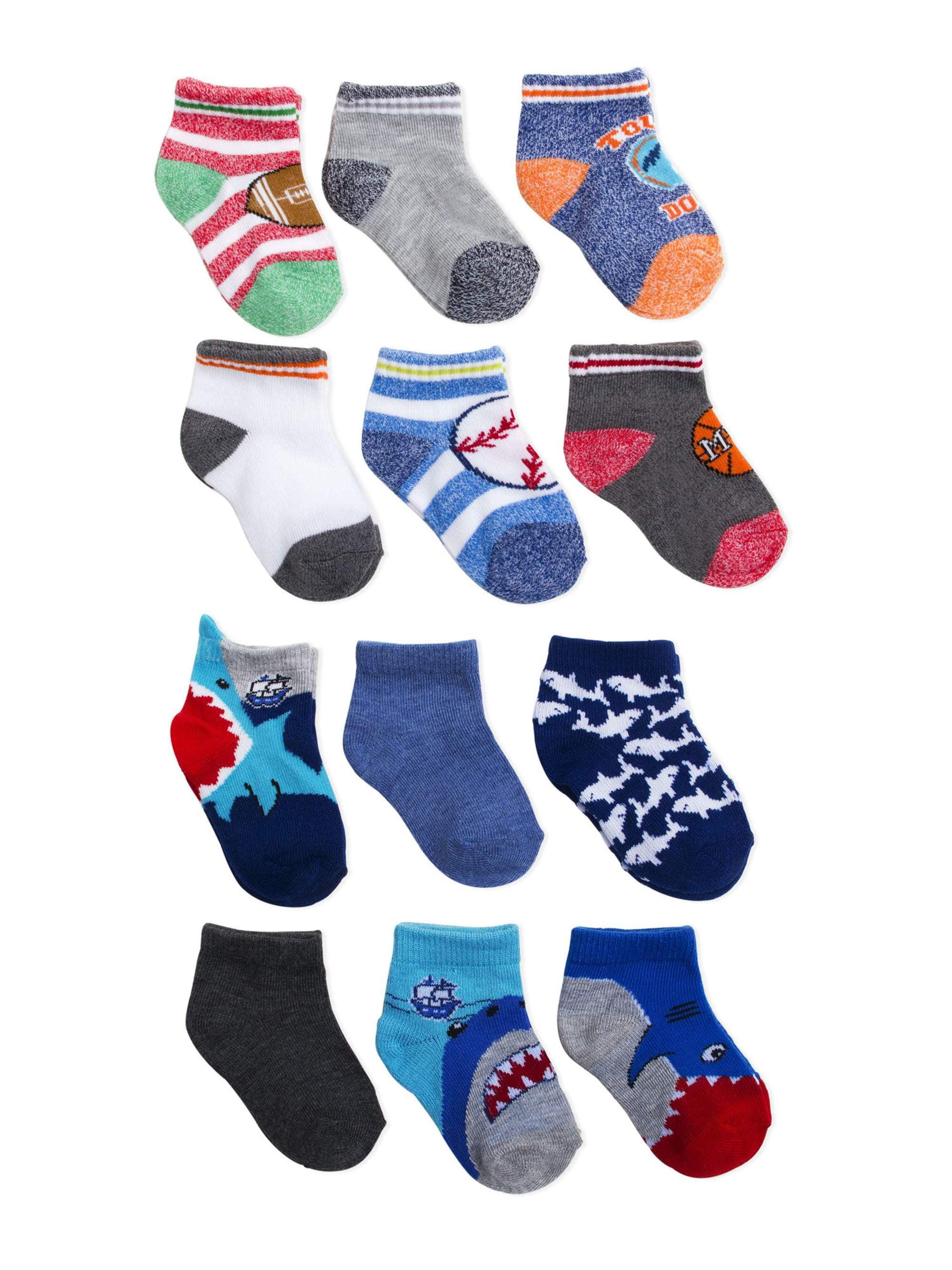 Garanimals Baby Boy Shorty Socks, 12 Pack