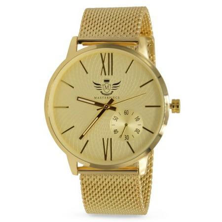 - Gold Slim Case Mesh Bracelet Executive Mens Watch