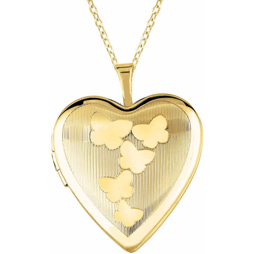 Yellow Gold-Plated Sterling Silver Heart-Shaped with Butterflies Locket