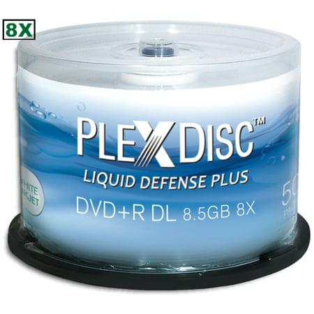 PlexDisc 8x 8.5GB Liquid Defense Plus White Inkjet Printable DVD+R DL 50-Pak