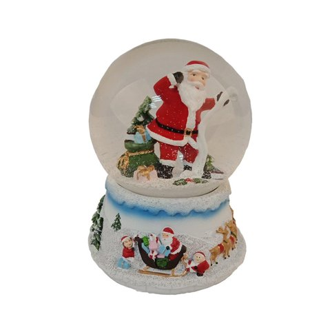 Elegantoss 100 MM Christmas Santa in Poly resin Musical Water Snow Globe with music ()