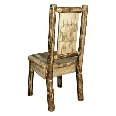 Laser Engraved Beer - Glacier Country Collection Side Chair w/ Laser Engraved Bear Design