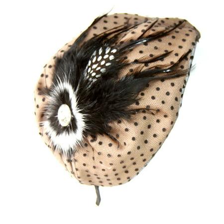 Ladies Classic 1920 Flappers Polka Dot Gem Side Headband