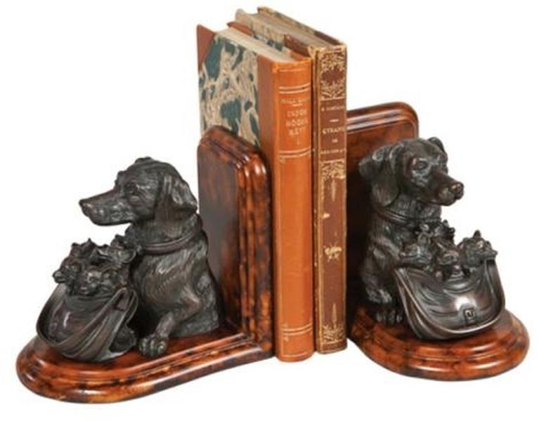 Bookend Dog Basket of Fox Kits Cast Resin New Hand-Cast Hand-Painted Pai OK-1542 by