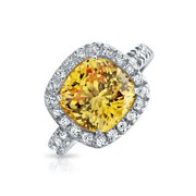 6CT Canary Yellow Halo Square Cushion Cut CZ Cubic Zirconia Statement Engagement Ring CZ Pave Band 925 Sterling Silver 10MM