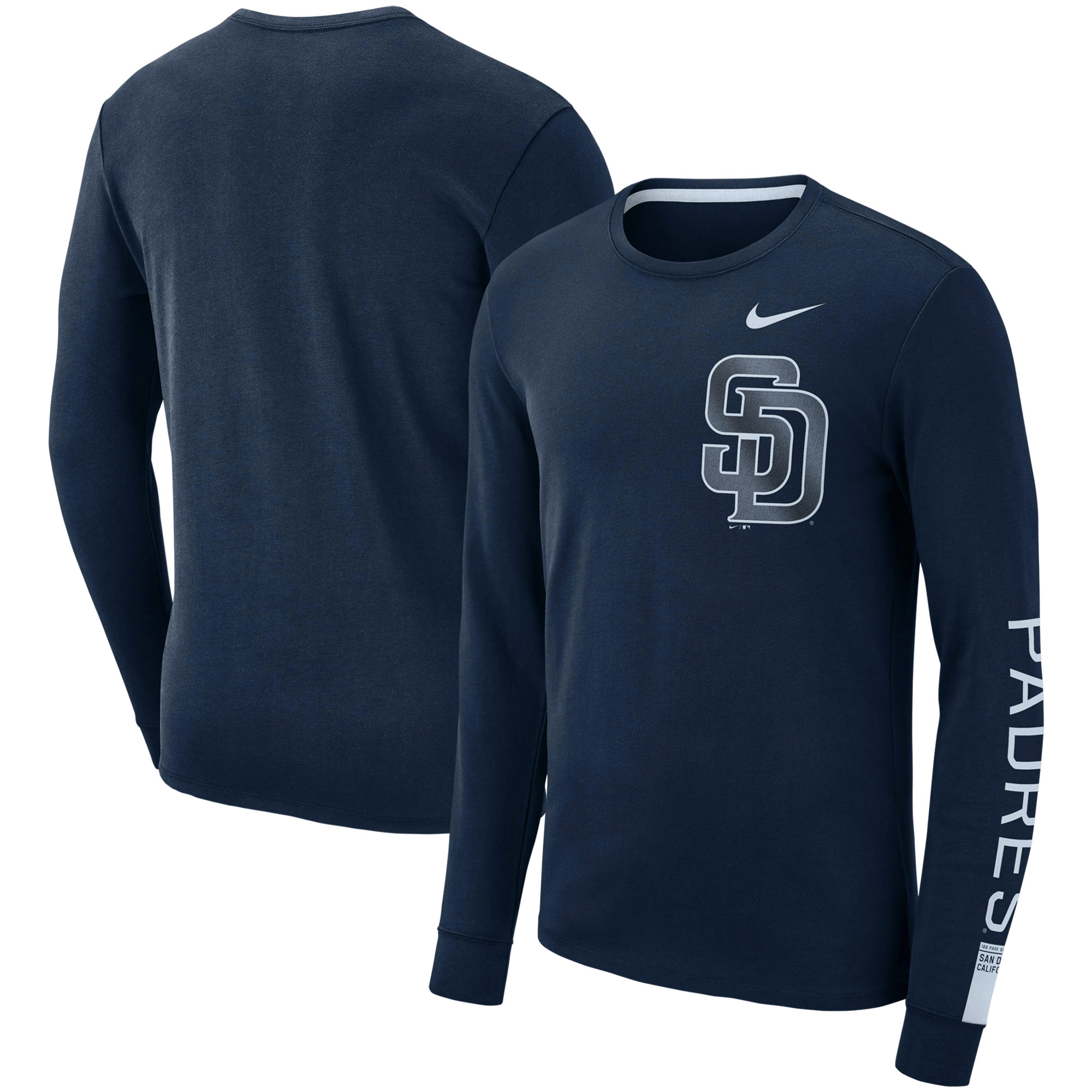 San Diego Padres Nike Heavyweight Long Sleeve T-Shirt - Navy
