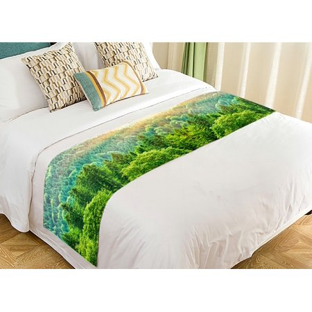 GCKG Green Forest Landscape Bed Runner, Beautiful Bird Eye View on Pines in the Morning Sun Light, Alpine Mountains Bed Runners Scarves Bed Decoration 20x95 inch ()