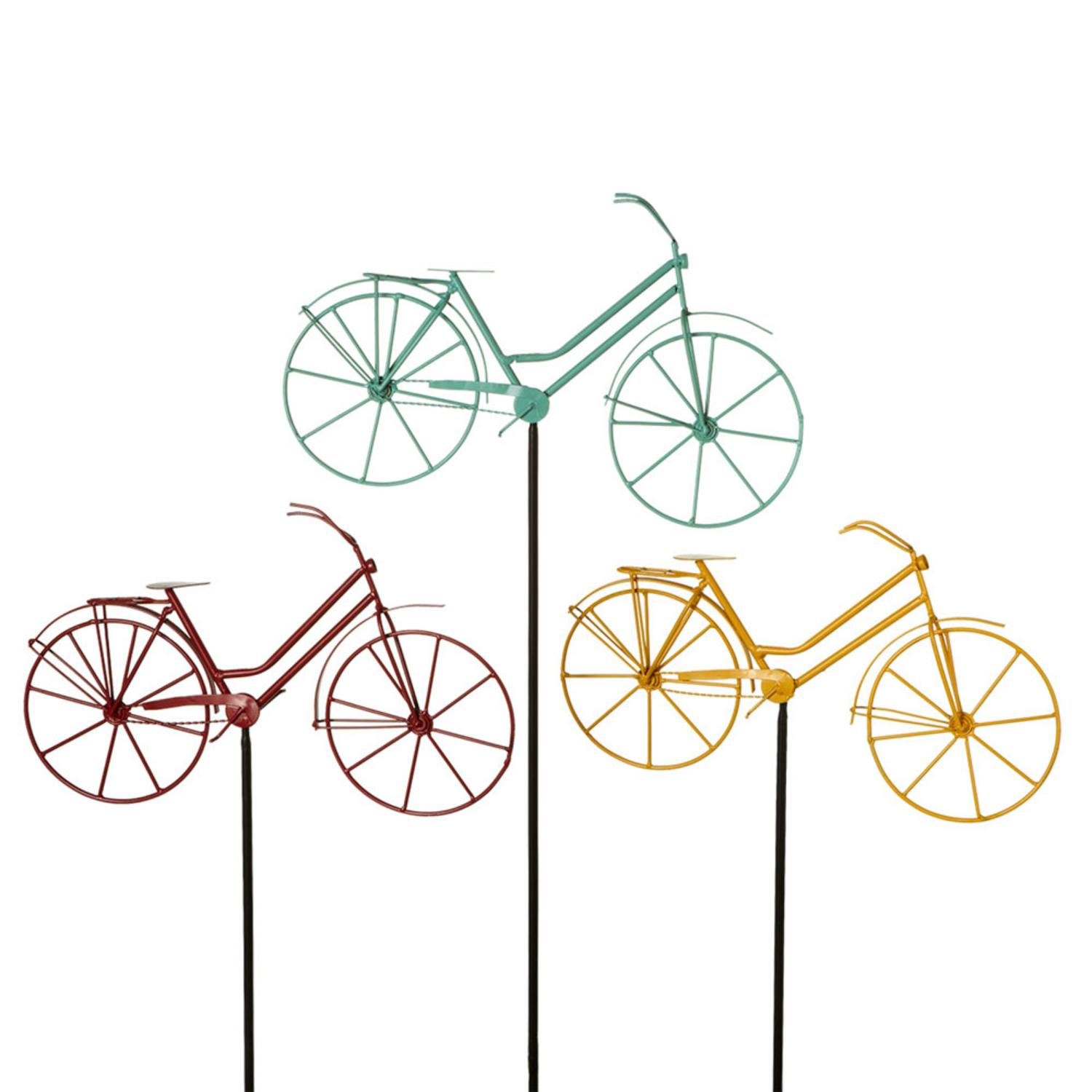 """Set of 3 Red, Yellow and Green Metallic Bicycle Garden Stakes 57"""""""