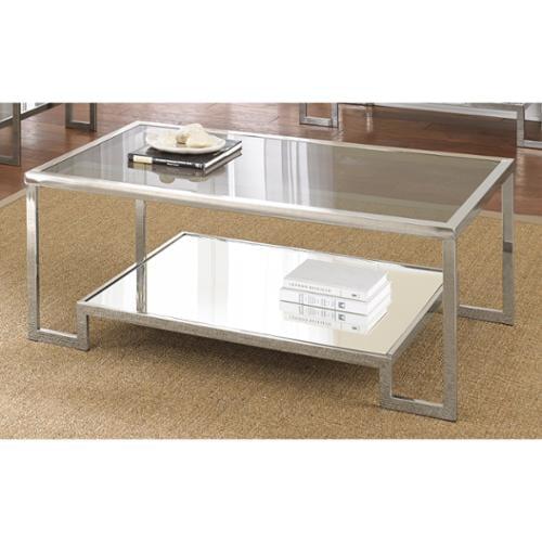 greyson living cordele chrome and glass coffee table- walmart