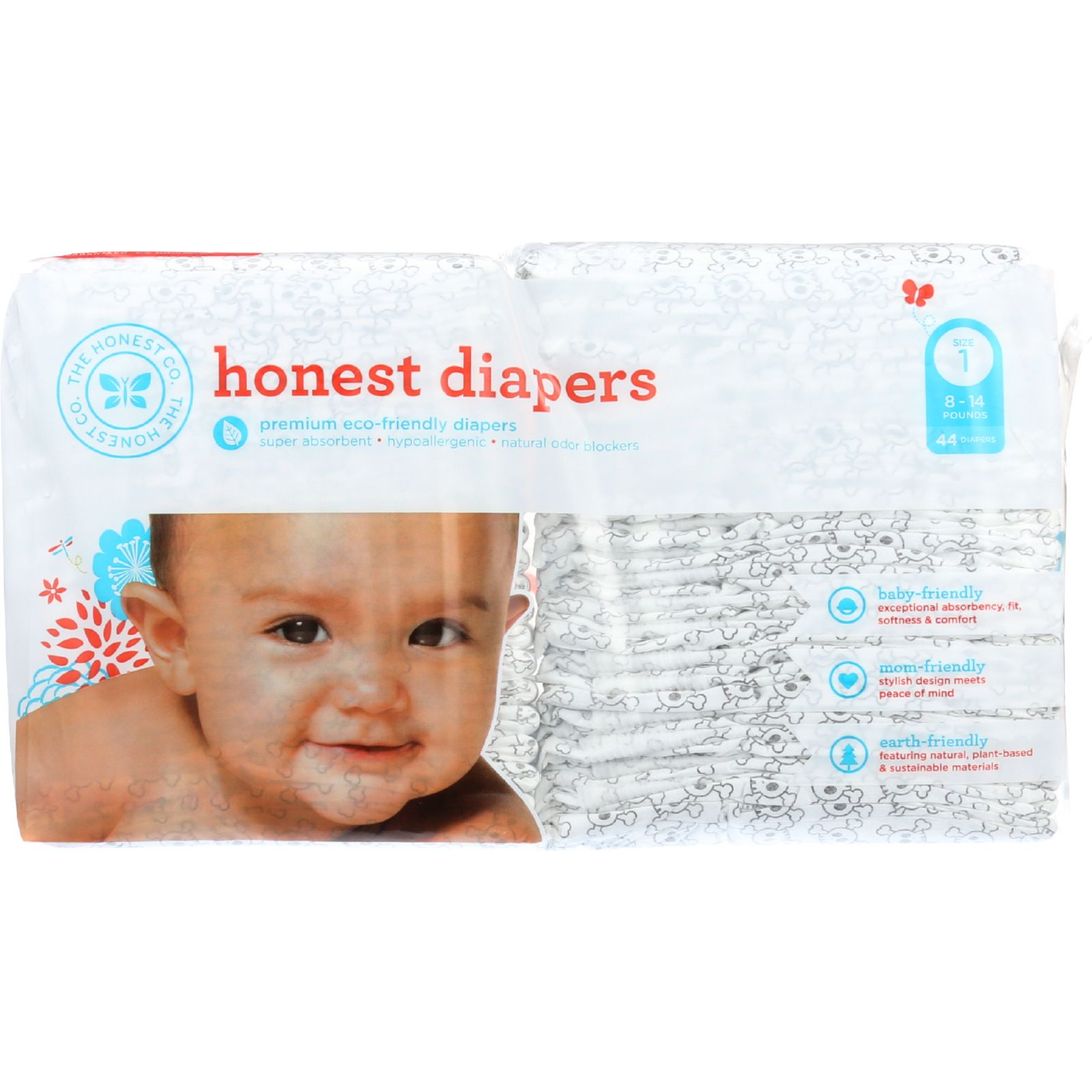 The Honest Company Diapers - Skulls - Size 1 - Babies 8 to 14 lbs - 44 count - 1 each