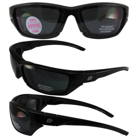 Birdz Eyewear Oriole-2 Padded Motocycle Riding Sunglasses Black Frame Smoke Lens With Removable Foam (Sunglasses With Removable Lenses)