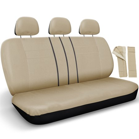 Split Bench Flat Cloth 8 Pc Seat Covers for Back Passenger Seat-Solid Beige