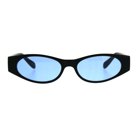 Womens Mod Narrow Rectangle Pop Color Oval Lens Plastic Sunglasses (Logo Yellow Oval In Blue Rectangle)