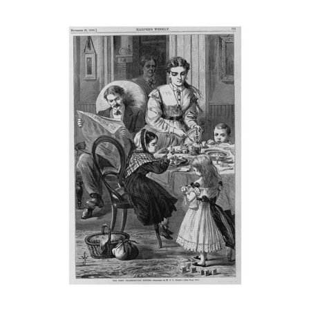 The First Thanksgiving Dinner. Sketched by W. S. L. Jewett. See Page 762. Print Wall Art (Thanksgiving Art Projects)