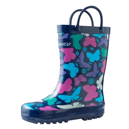 Oakiwear Kids Rain Boots For Boys Girls Toddlers Children, Bright Butterflies - Military Boots For Kids