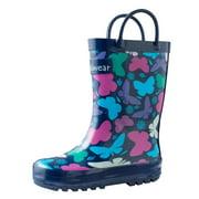 Oakiwear Kids Rain Boots For Boys Girls Toddlers Children, Bright Butterflies