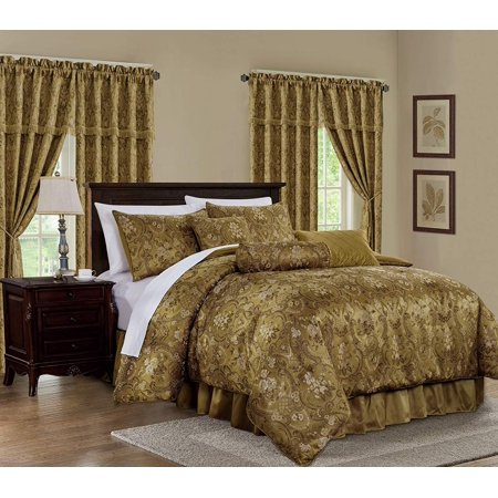 Chezmoi Collection Lennox 7-Piece Gold Floral Jacquard Embroidered Motif Comforter Bedding Set Gold King Comforter