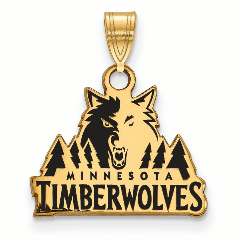 NBA Minnesota Timberwolves 14kt Gold-Plated Sterling Silver Small Enamel Pendant