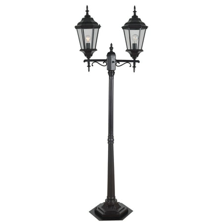 Kenroy Home Classic Street Light-Style Portable Post 2 Light Lantern, 75 Inch Height, Oil Rubbed Bronze, Clear Glass Shades, Waterproof Pole Switch, UL Listed for Wet Locations, Edison Bulb Compatible (Outdoor Lamp Post Oil Rubbed)