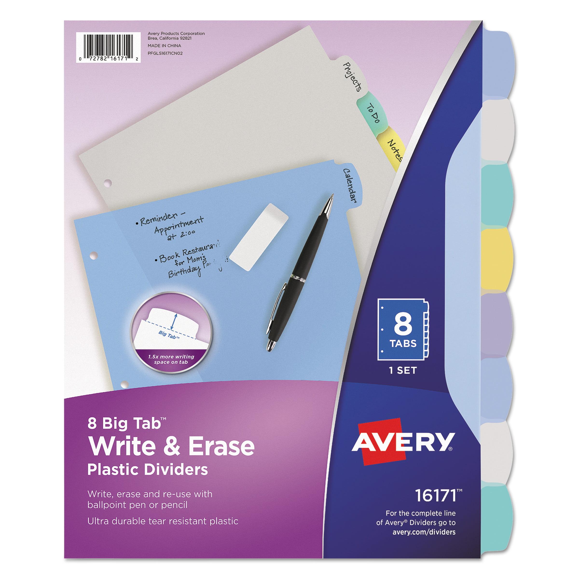 Avery Write-On Big Tab Plastic Dividers, 8-Tab, Letter