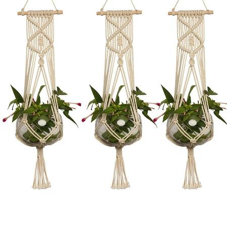 Eeekit 3 Pack Macrame Plant Hanger Indoor Outdoor Hanging Planter Shelf Decorative Flower Pot Holder Hanging Baskets For Plant Boho Bohemian