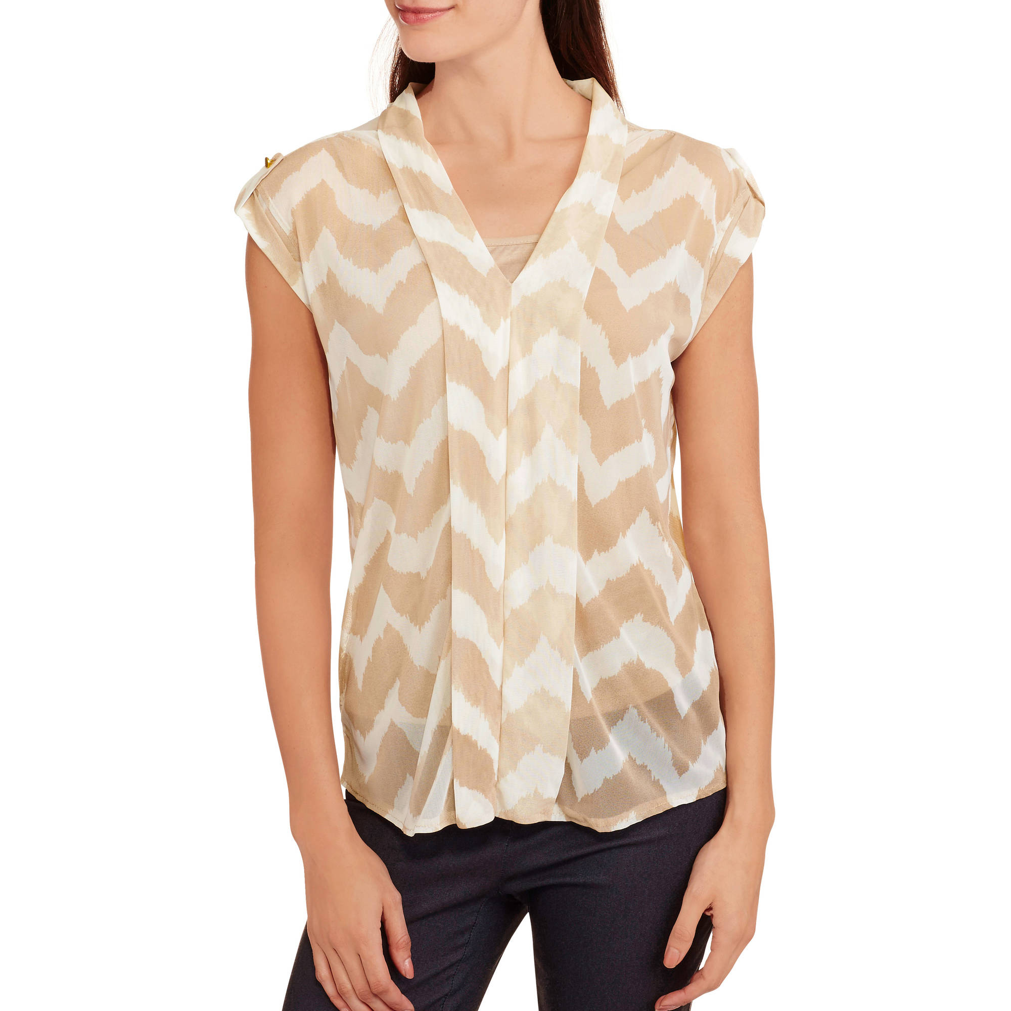 French Laundry Women's Sheer Chevron Sleeveless Top With Built-In Cami