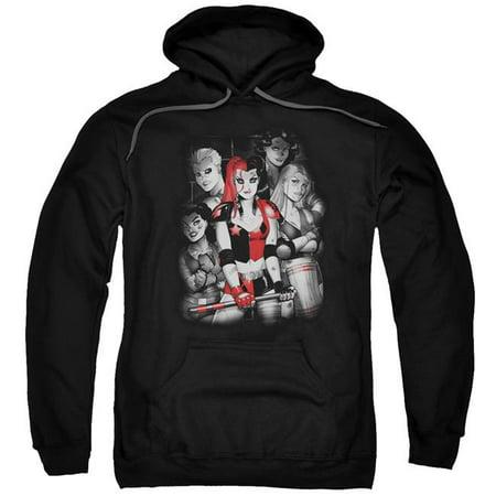 hoodie: harley quinn- roller derby team apparel pullover hoodie - black - Harley Quinn Hoodie