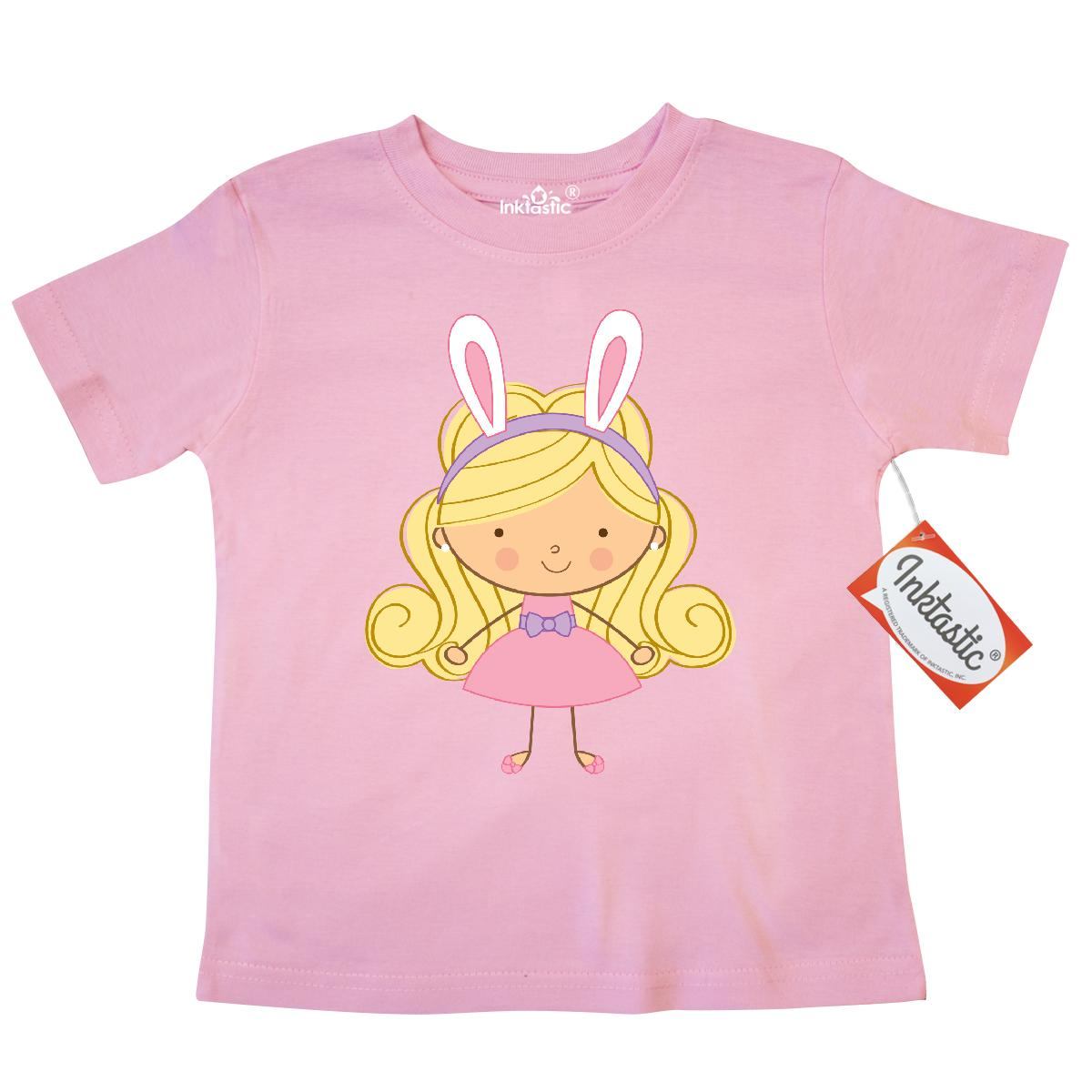 Inktastic Easter Girl Bunny Ears Toddler T-Shirt cute holiday personalized custom rabbit gift holidays spring tees. child preschooler kid clothing apparel hws