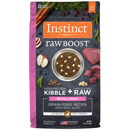 Instinct Raw Boost Small Breed Grain-Free Recipe with Real Duck Natural Dry Dog Food by Nature's Variety, 4 lb. Bag