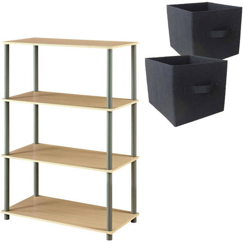 Mainstays No Tools 6-Cube Storage Shelf, Multiple Colors with Fabric Storage Cubes, Set of 2