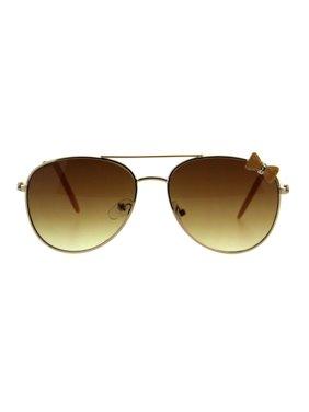 Girls Kids Size Ribbon Jewel Trim Pilots Metal Rim Sunglasses Gold Beige Brown