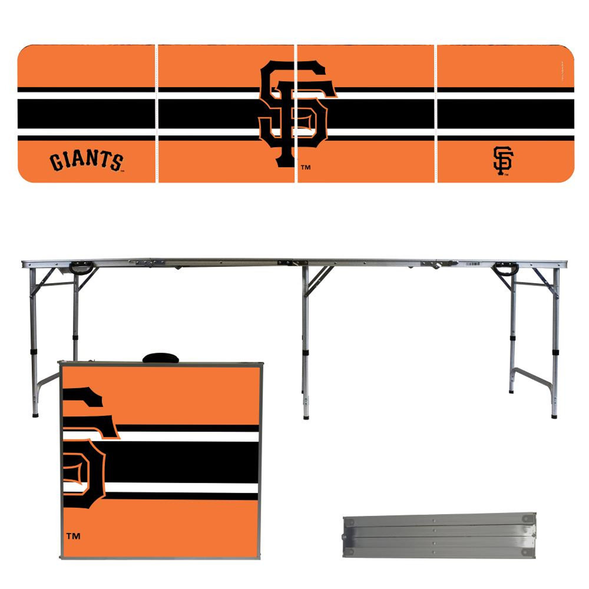 San Francisco Giants Striped Design 8' Portable Folding Tailgate Table - No Size