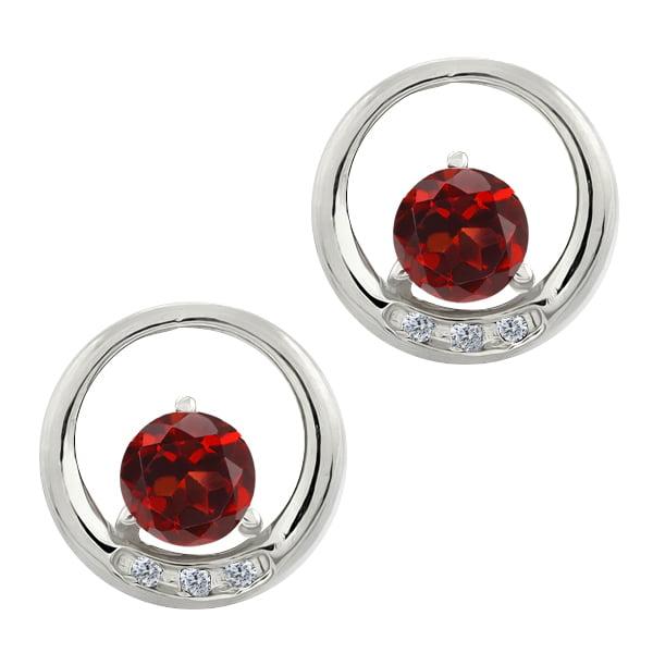 1.24 Ct Round Red Garnet and White Diamond 14k White Gold Earrings