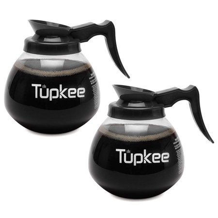 - Tupkee Glass Replacement Coffee Pot - SHATTER-RESISTANT Commercial Restaurant Decanter Carafe - 64 oz 12 Cup, 2 Black Handle, Set of 2, Compatible with Wilbur Curtis, Bloomfield, Bunn Coffee Pot