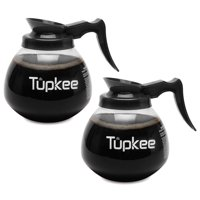 Tupkee Glass Replacement Coffee Pot - SHATTER-RESISTANT Commercial Restaurant Decanter Carafe - 64 oz 12 Cup, 2 Black Handle, Set of 2, Compatible with Wilbur Curtis, Bloomfield, Bunn Coffee Pot