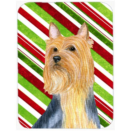 Caroline's Treasures Silky Terrier Candy Cane Holiday Christmas Glass Cutting Board