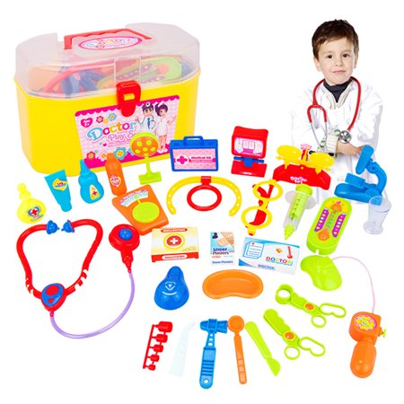 30 Pcs Doctor Nurse Medical Kit Children Role-playing Doctor Toy Suit with Carrying Case for Boys and Girls