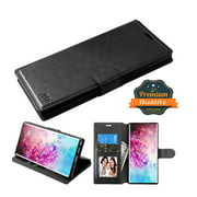 "Samsung Galaxy Note 10 (6.3"") Phone Case Leather Flip Wallet Case Stand Pouch Folio Magnetic Buckle with Credit Card / ID Slots Holder & Cash Pokcet [Kickstand] BLACK Cover for Samsung Galaxy Note 10"