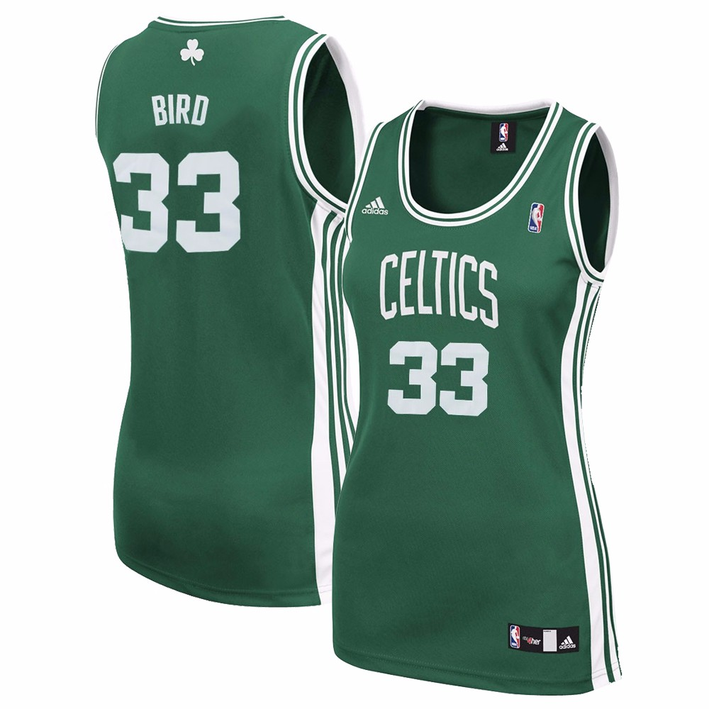 Larry Bird Boston Celtics NBA Adidas Green Official Away Road Replica Jersey For Women