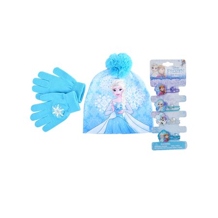 Frozen Elsa Knit Beanie Gloves 2-Piece Set & Hair Ties 4-Piece (Disney Frozen Elsa's Magical Musical Gloves)