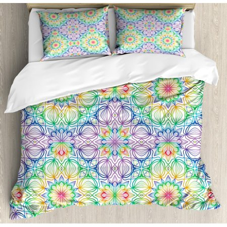 Rainbow Mandala King Size Duvet Cover Set, Colorful Stripes with Flower Pattern Mystical Oriental Folklore Boho Motifs, Decorative 3 Piece Bedding Set with 2 Pillow Shams, Multicolor, by Ambesonne