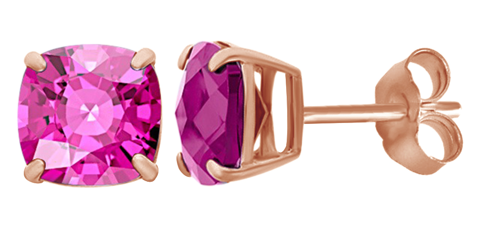 Cushion Cut Simulated Pink Sapphire Stud Earrings In 14K White Gold Over Sterling Silver By Jewel Zone US by Jewel Zone US