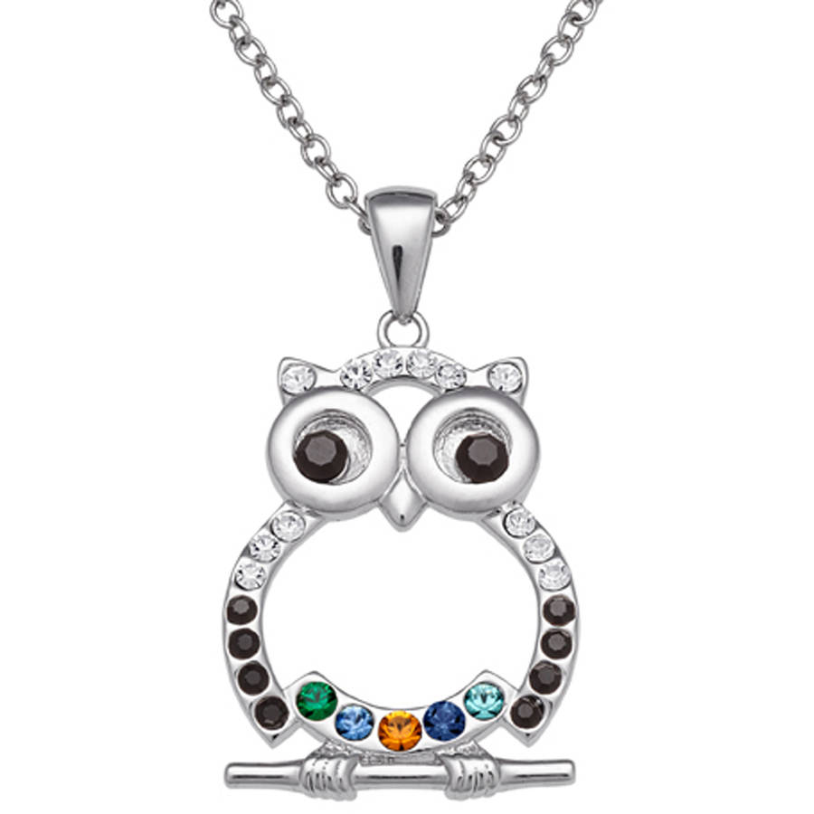 Personalized Mother's Rhodium-Plated Owl Birthstone Pendant