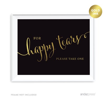 For Happy Tears Black and Metallic Gold Wedding Signs (Happy Tears)