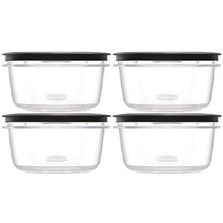 Rubbermaid 5 Cup Grey Premier Food Storage Container Crystal Clear Tritan Plastic (Pack Of