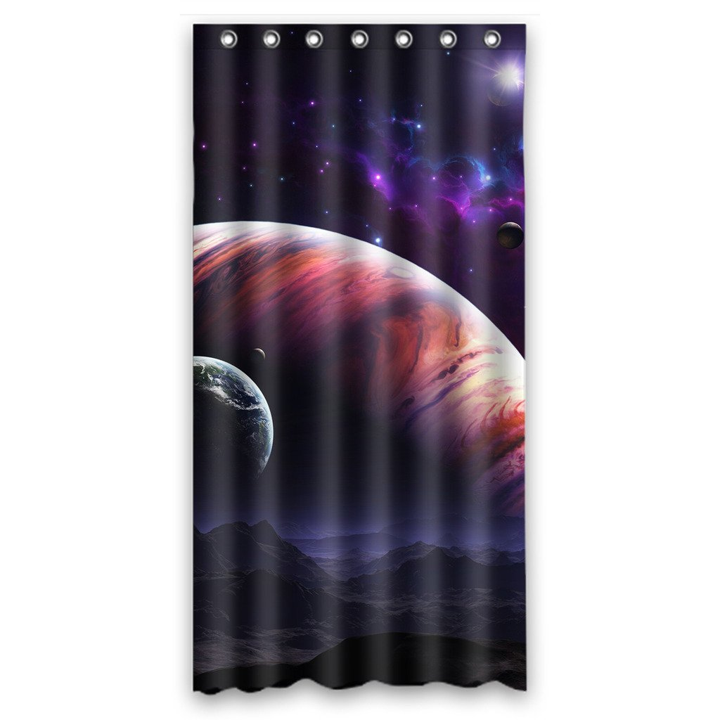 GCKG Nebula Galaxy Moon Space Planet Star Universe Bathroom Shower Curtain Rings Included Polyester Waterproof 48x72 Inches