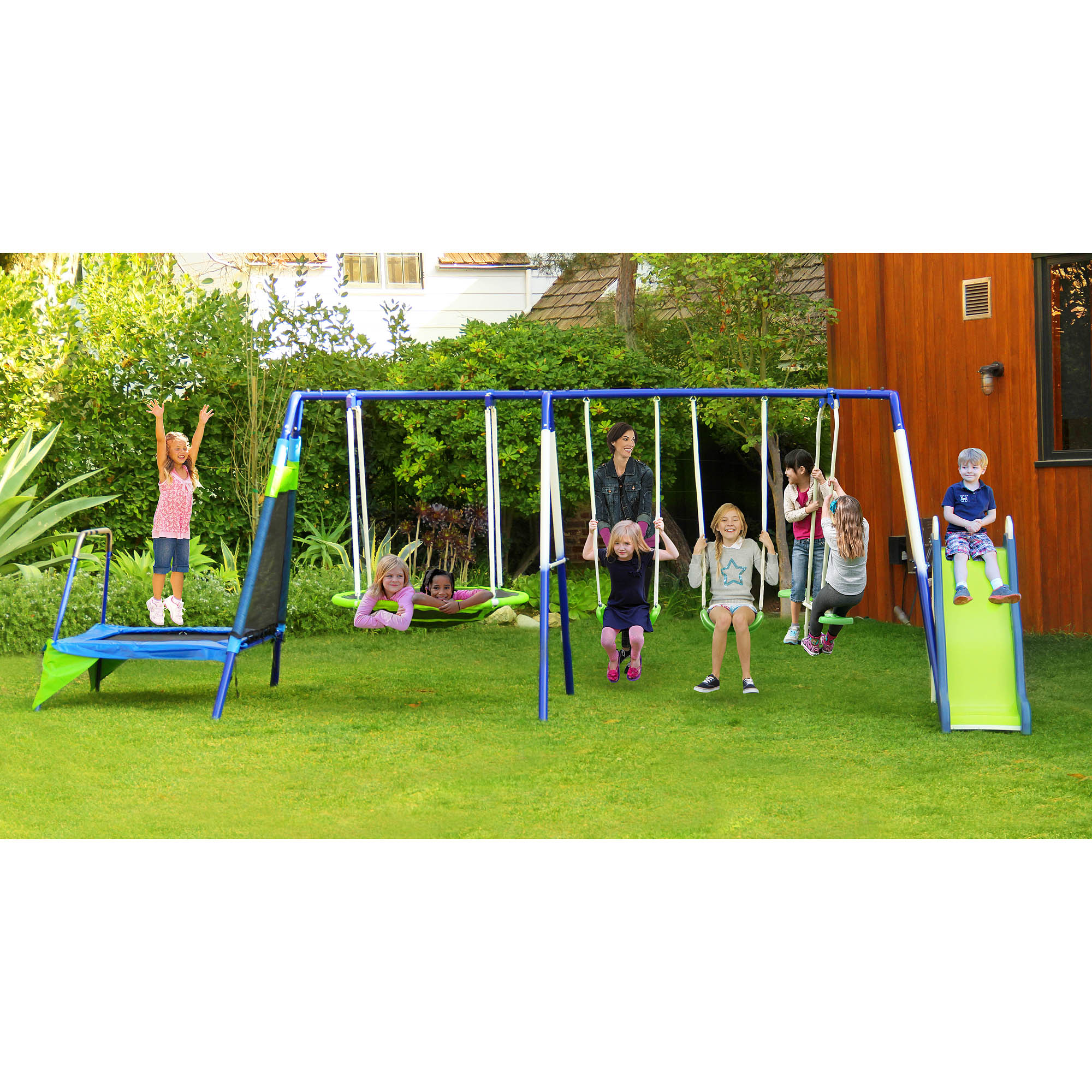 Sportspower Mountain View Metal Swing Set with Slide and Trampoline