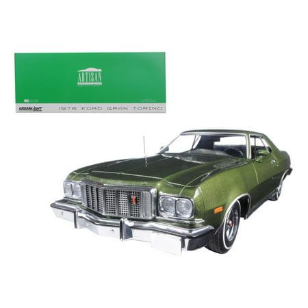 1976 Ford Gran Torino - 1976 Ford Gran Torino Dark Green Metallic 1/18 Diecast Model Car by Greenlight